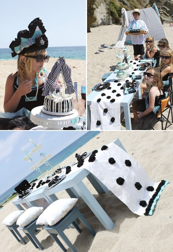tiffany theme beach glam birthday cake