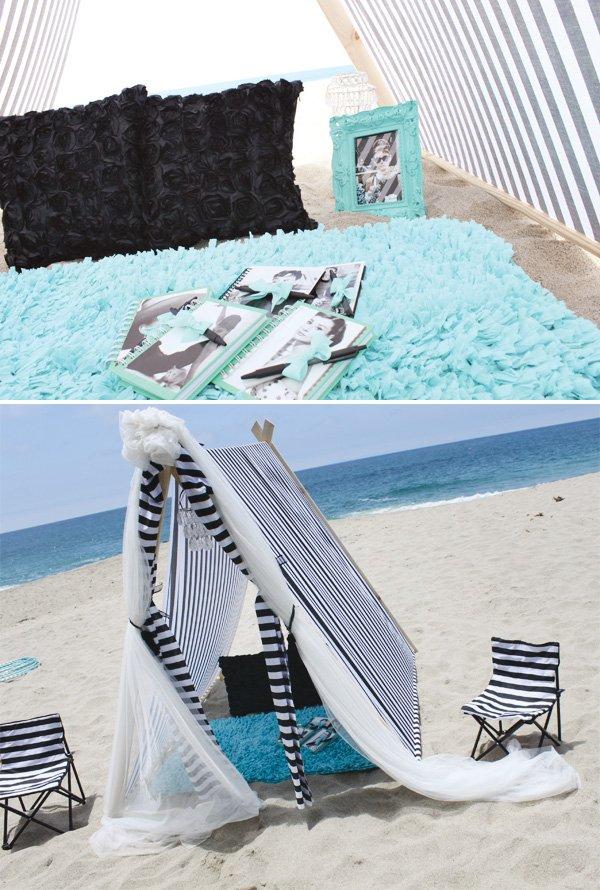 tiffany themed birthday beach tent