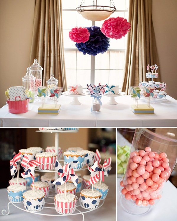 pinwheel birthday party dessert table