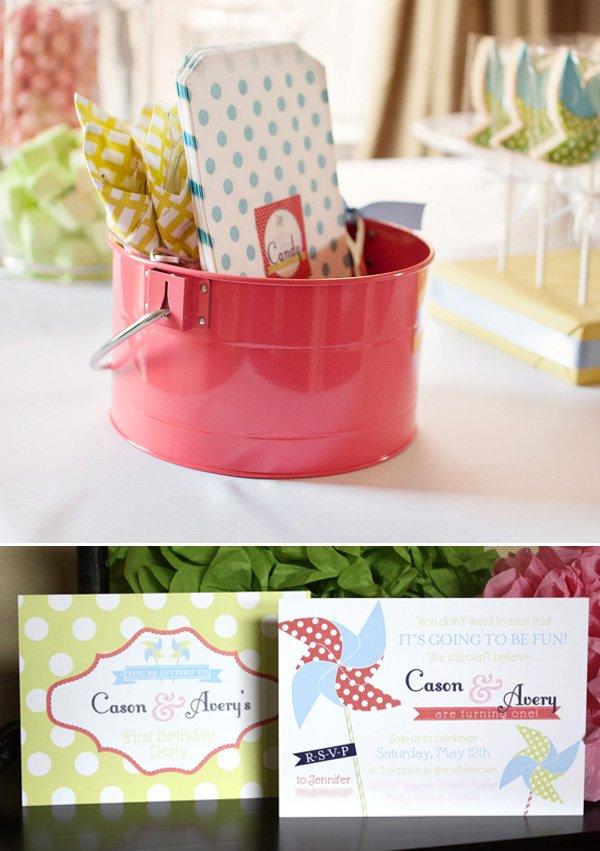 pinwheel birthday party invitation