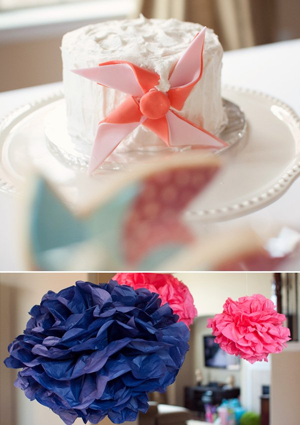 Twins Pinwheel Party Cake Smash Cake and Pom Poms