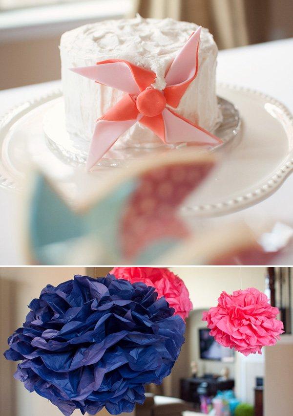 Twins Pinwheel Party Cake Smash Cake and Pom Poms
