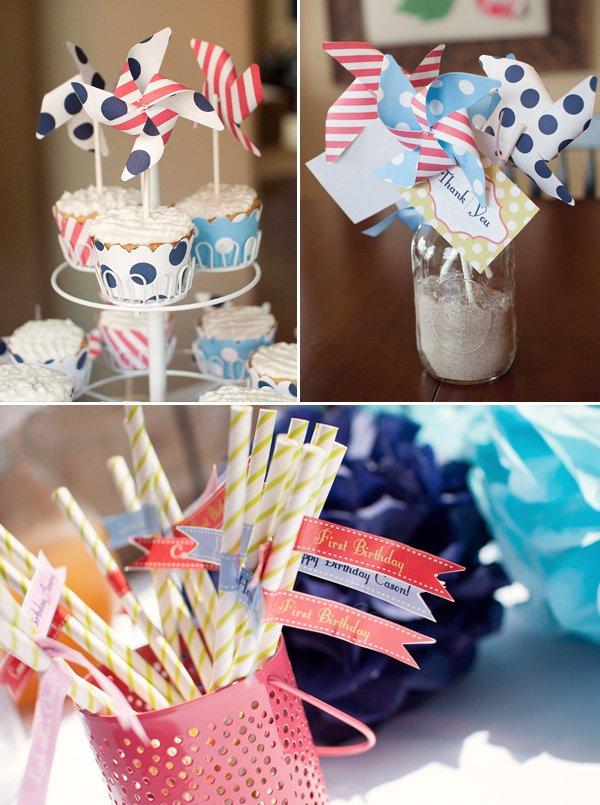 Twins Pinwheel Party Straw Flags and Pinwheel Cupcakes
