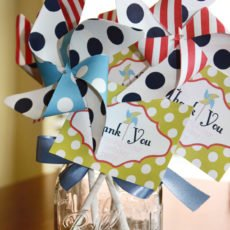 pinwheel birthday party thank you tags