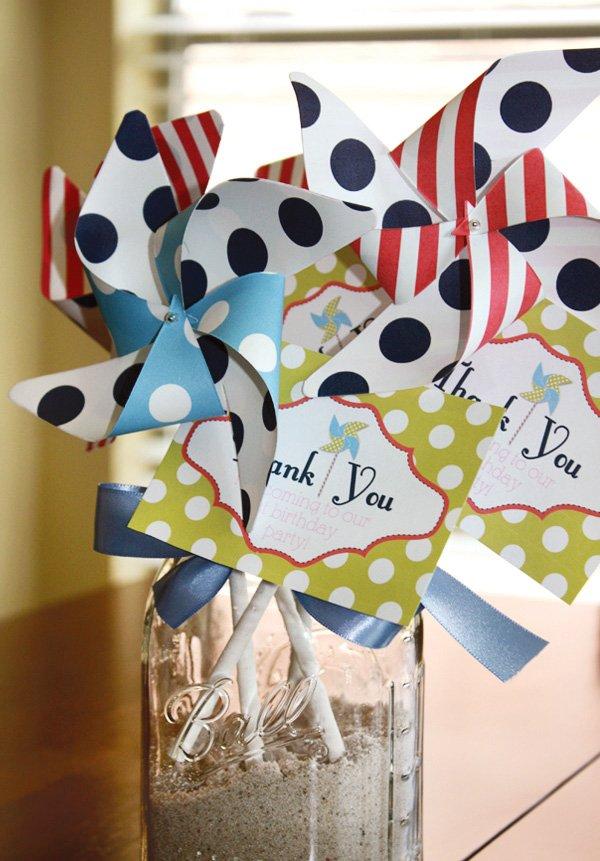 pinwheel birthday party thank you tags