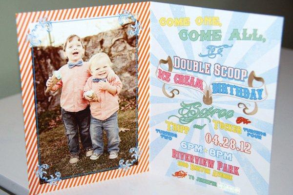 vintage ice cream party birthday invitations