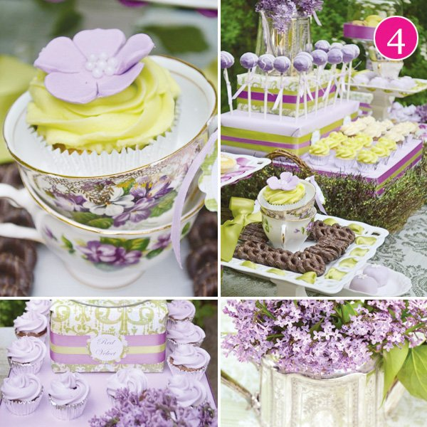 vintage purple china with green dessert table