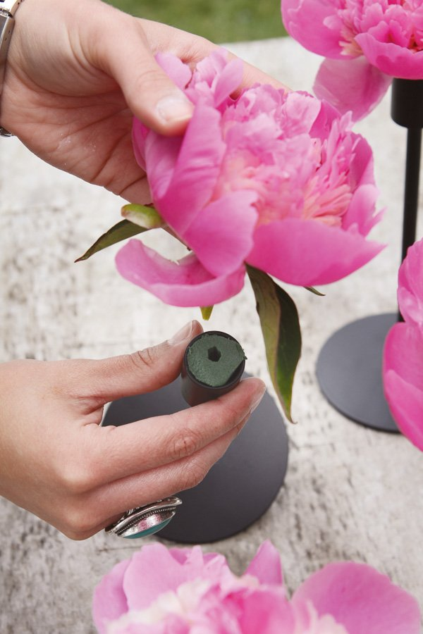 wedding diy centerpieces with peonies and candlesticks