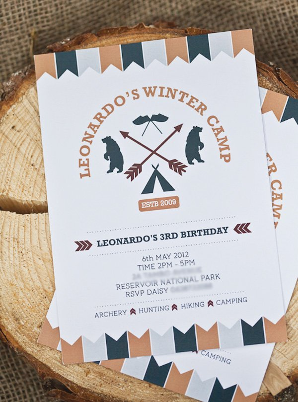 Printable camping party invitation