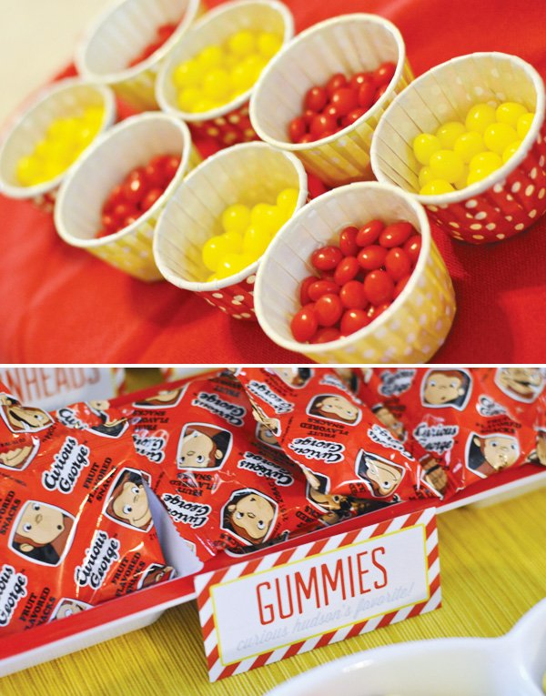 red and yellow polka dot candy cups