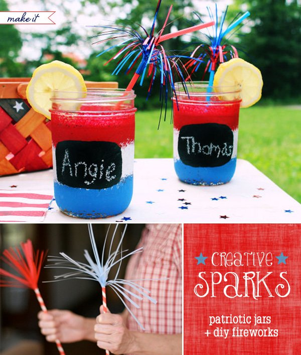 4th of july mason jars and diy paper sparklers