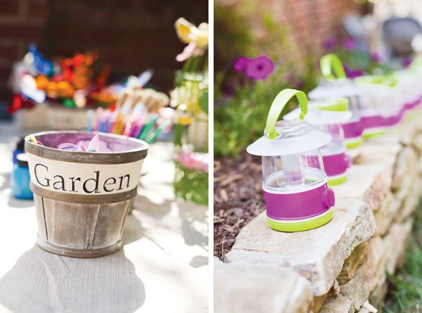 glam camping birthday party lanterns