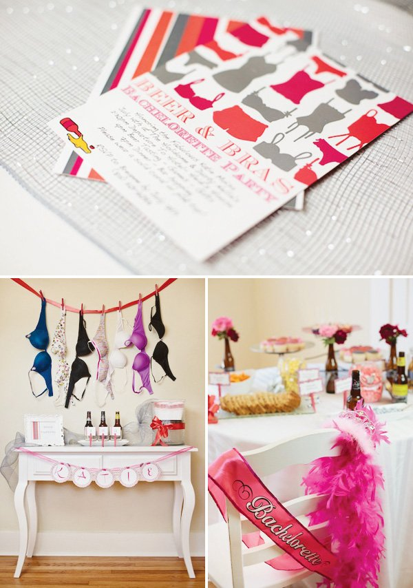 Pink and gray bachelorette party invitations