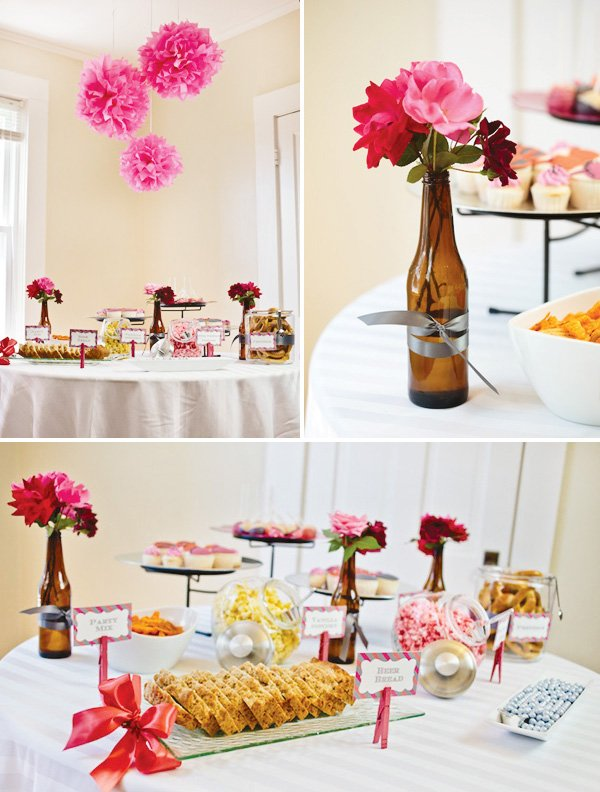 Bachelorette party tablescape with beer bottle centerpieces