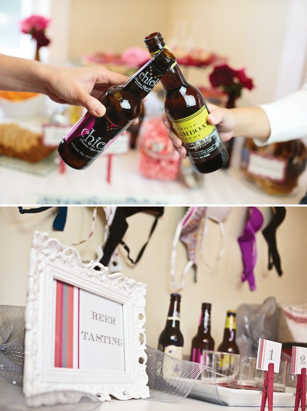 Bachelorette party with beer and bra decorations