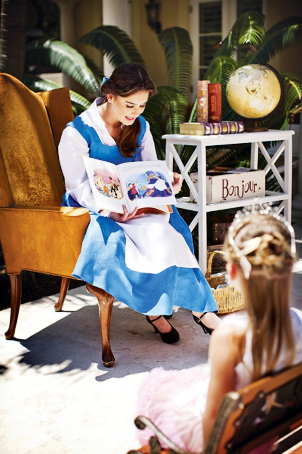 belle story time for a beauty and the beast birthday party
