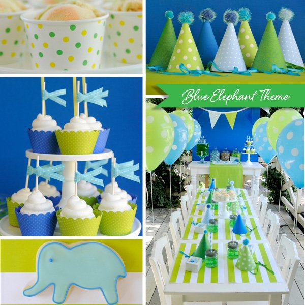 blue elephant party theme