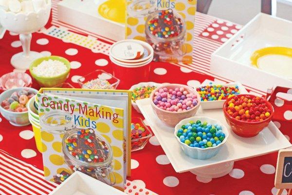 candy making for kids station set up