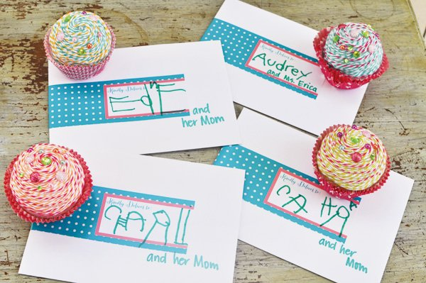 cupcake shop invitations with twine cupcakes