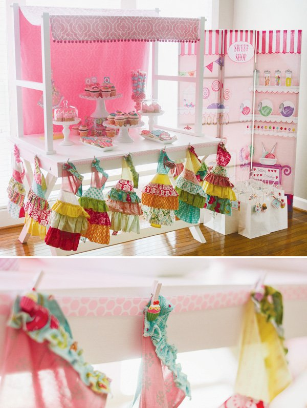 cupcake shop party with aprons