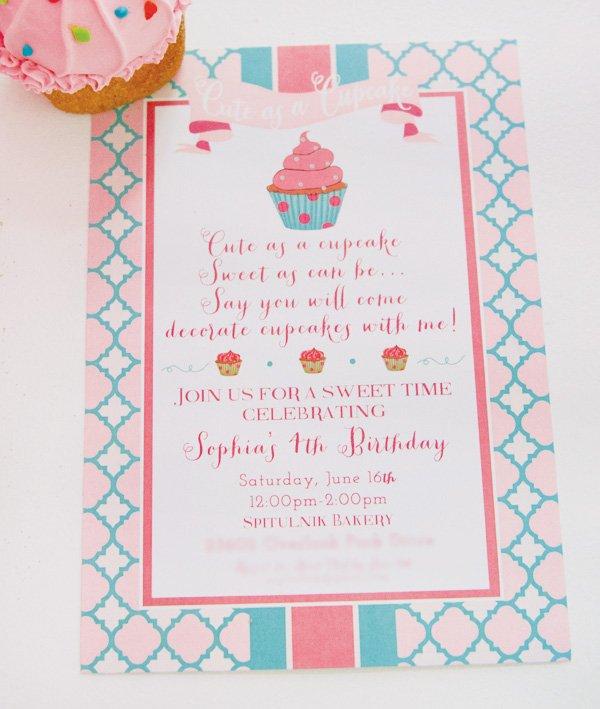 cute as a cupcake party invitation
