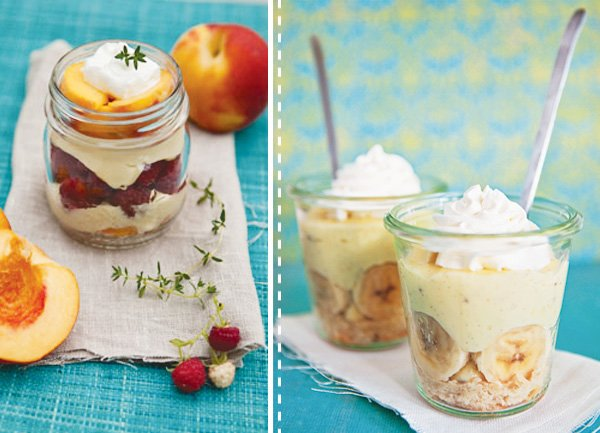 desserts in jars peach raspberry verrines