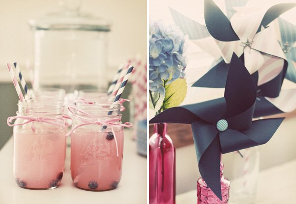pink and blue party decorations