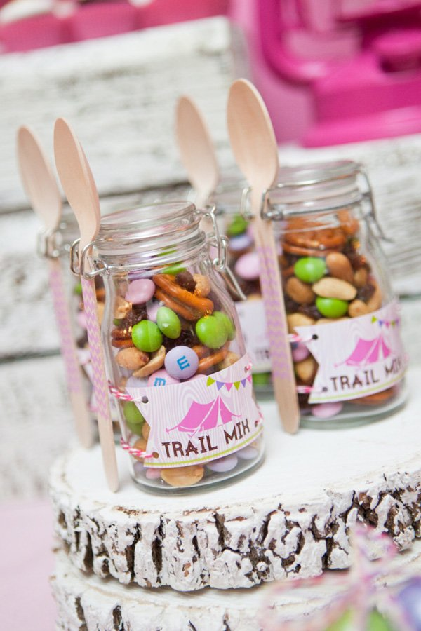 glam camping party trail mix favors