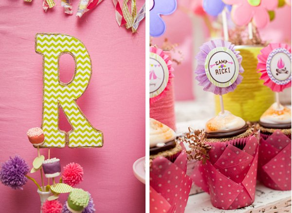 glam camping party cupcake toppers