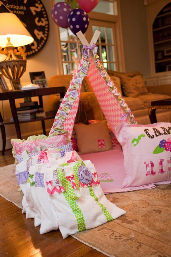 glam camping party custom pink chevron tent