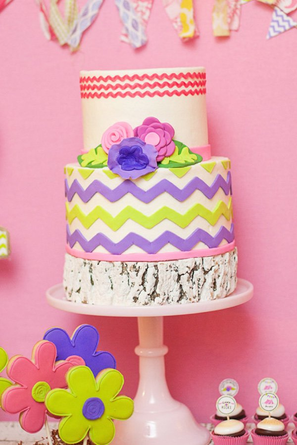 glam camping party chevron cake