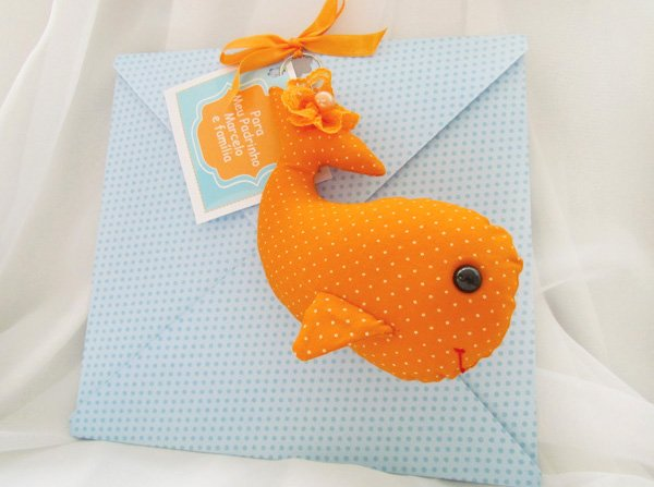 fabric whale party invitation