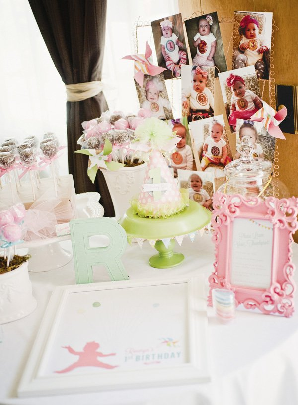 first birthday party decoration with a pastel color palette