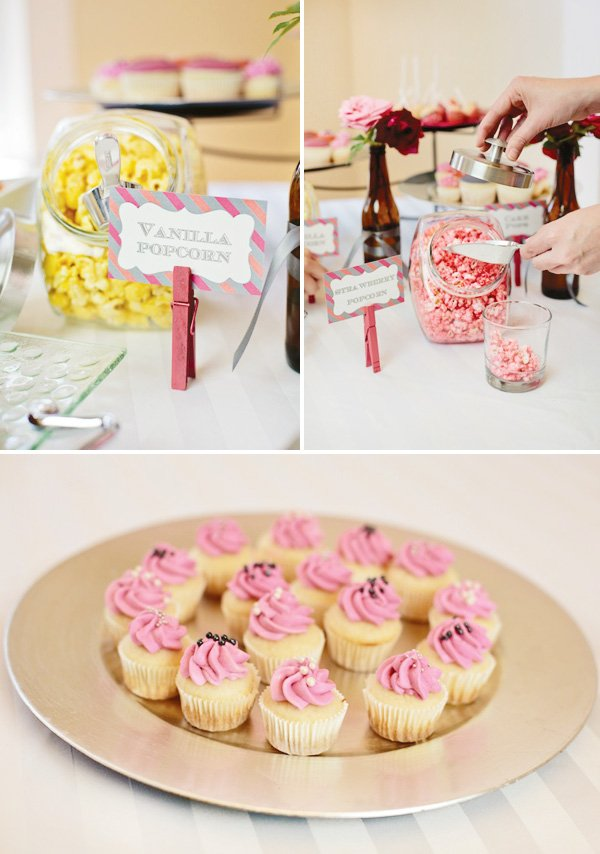 Pink and yellow desserts and a flavored popcorn bar