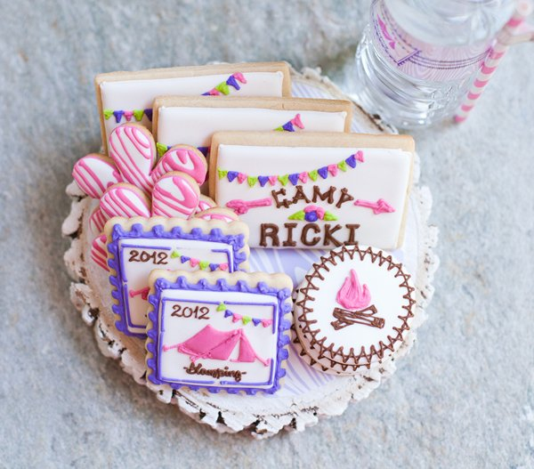 glam camping party sugar cookies