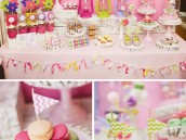 glam camping party dessert table