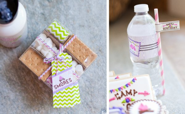 glam camping party s'mores kits and drink wraps