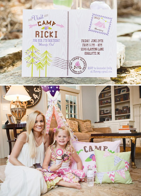 glamping party invitations