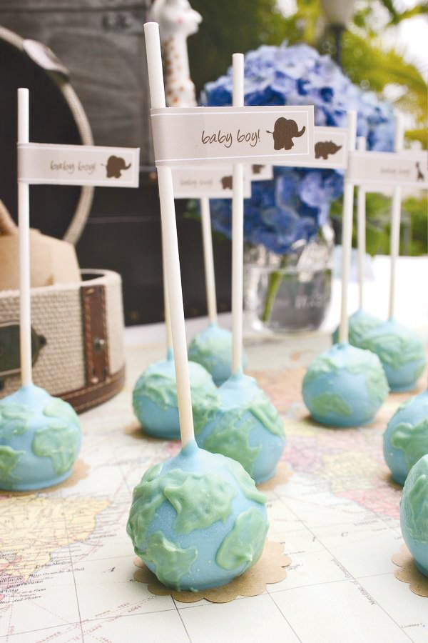 globe cake pops for an around the world travel theme baby shower