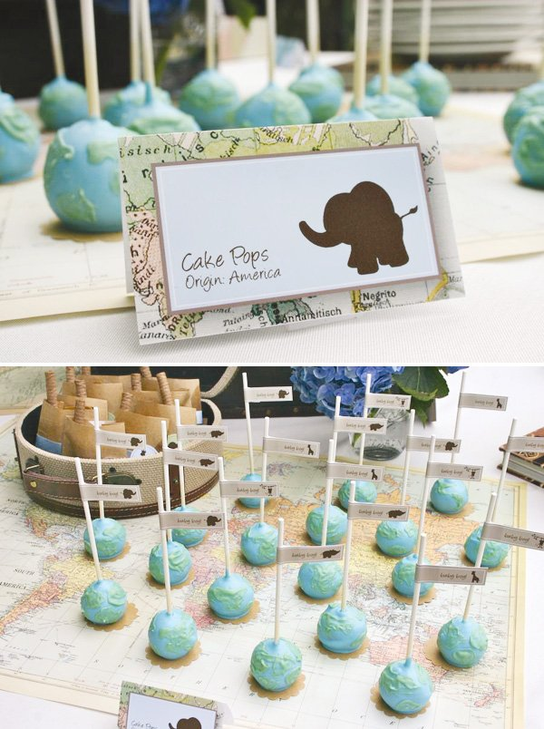 globe cake pops map