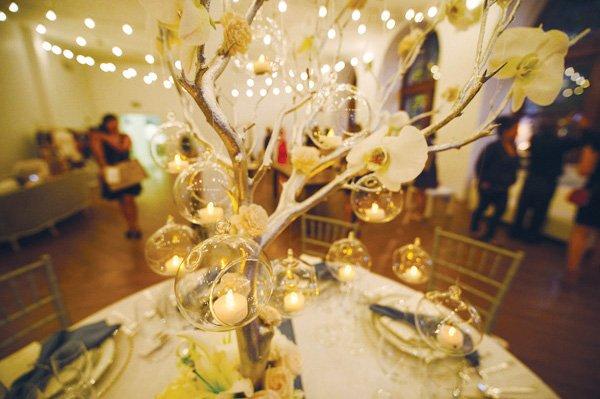 something blue bridal event gold manzanita wedding centerpiece