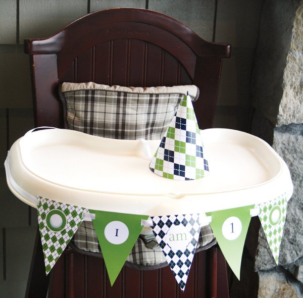 golf first birthday hat and high chair