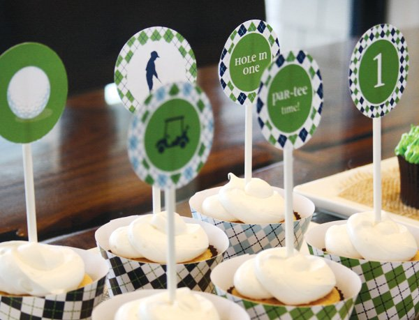golf party plaid cupcakes