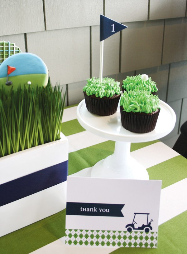 golf party thank you cards and cupcakes