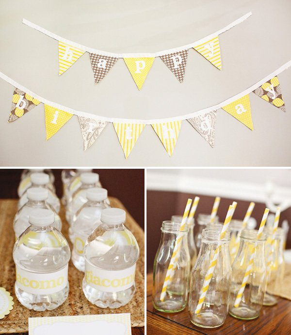 happy birthday bunting with yellow and gray patterned fabric