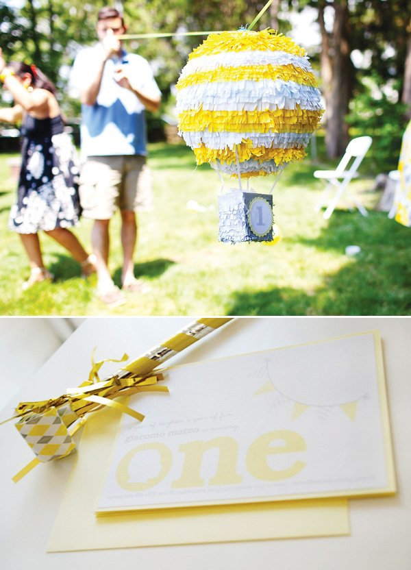 yellow and white hot air balloon pinata
