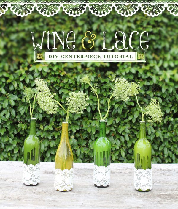 lace and paint wine bottle diy