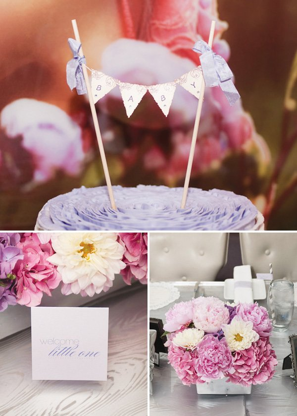 Modern lilac gray baby shower hostess with the mostess Elegant baby shower decorations