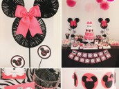 minnie mouse and zebra pattern party