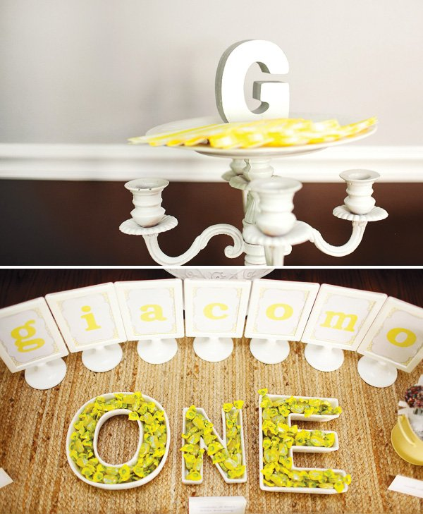 Monogram decorations and lettered candy trays